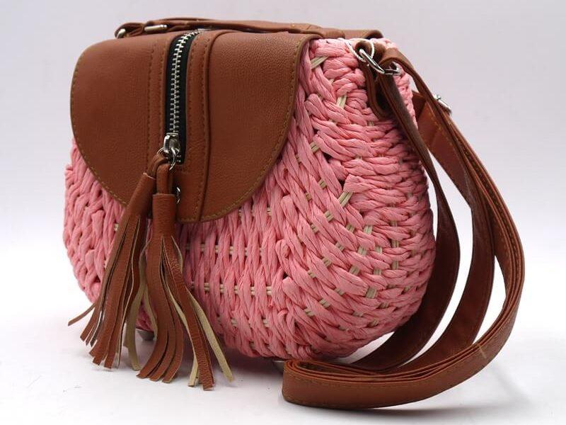 Bolso redondo paja rosa 87734-2
