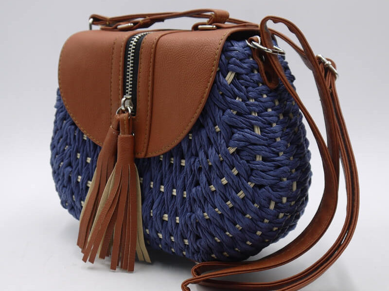 Bolso redondo paja azul oscuro 87734-5