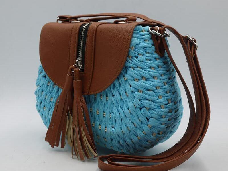 Bolso redondo paja azul claro 87734-6