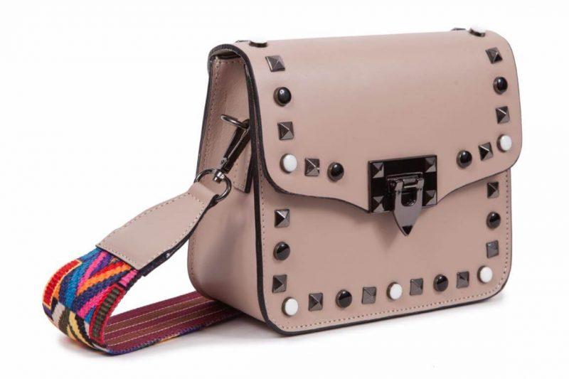 Bolso rosa de piel tachuelas con correa intercambiable CG57311-P