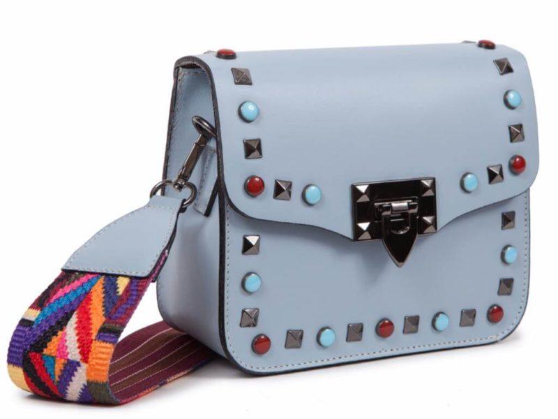 Bolso tachuelas azul con correa intercambiable CG57311-7