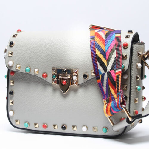 8e8bb11cf Bolso con Tachas de colores + Correa Étnica - Kalimba - Bolsos Online