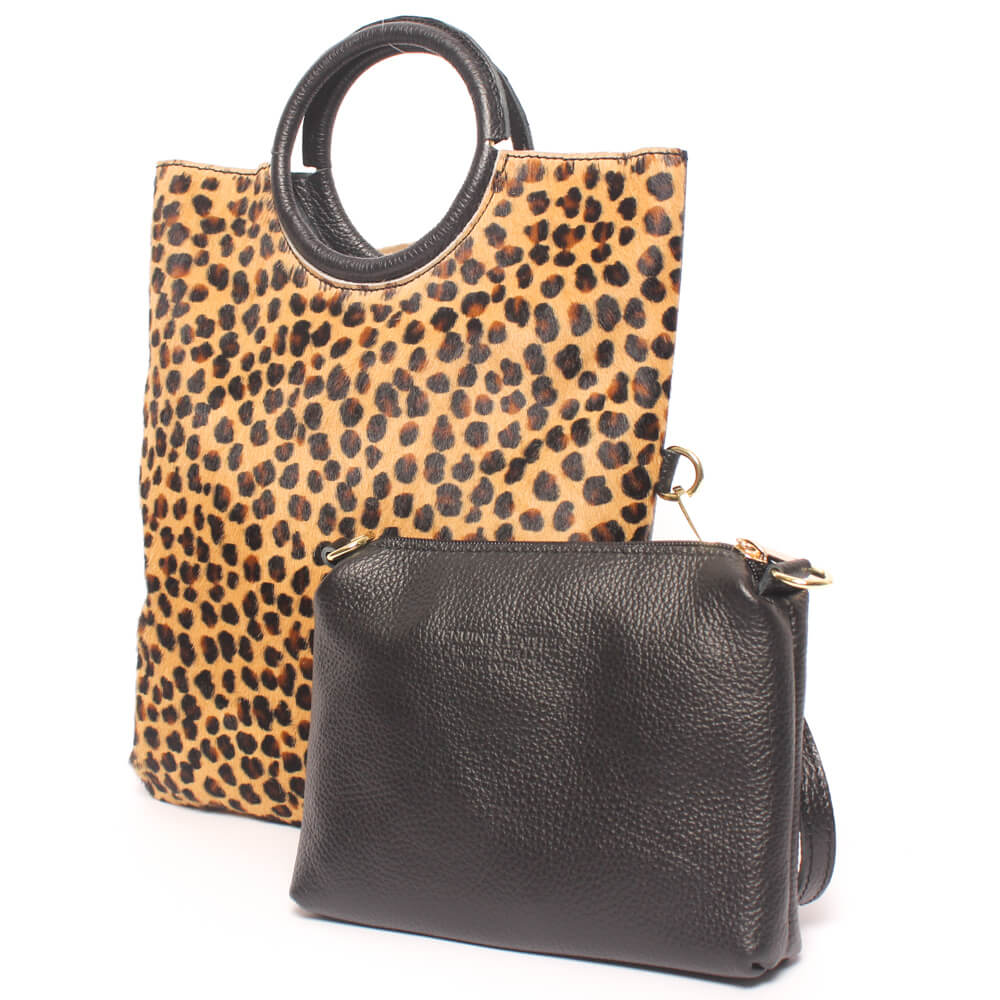 Bolso Leopardo Animal Print con Neceser de Piel