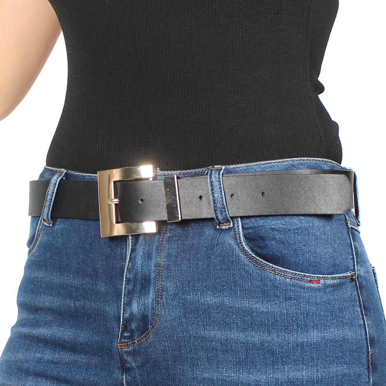 Cinturón Hebilla Cuadrada Dorada