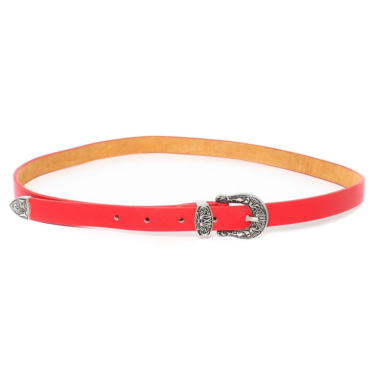 Cinturón Hebilla labrada Western en color Rojo o Negro